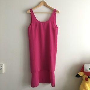 ASOS Petite High Low Sleeveless Shift Dress Pink